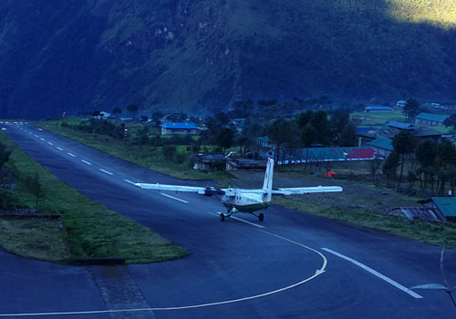 Fly to Lukla (2,800m/9,184ft), trek to Phakding (2,651m/8,700ft): 35 minutes flight, 3 - 4 hours trek